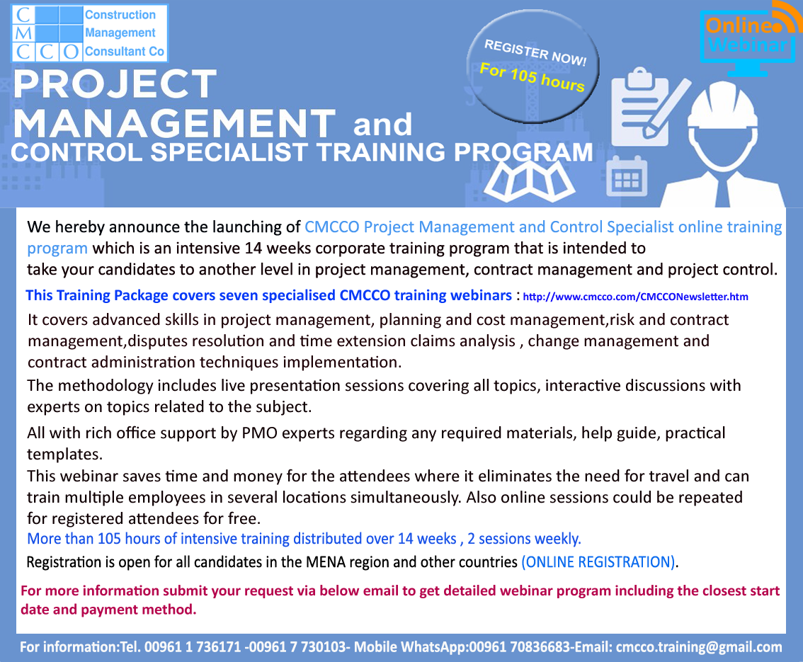 CMCCO Project Management and Control Specialist training program